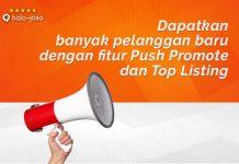 Halojasa Fitur Push Promote dan Top Listing